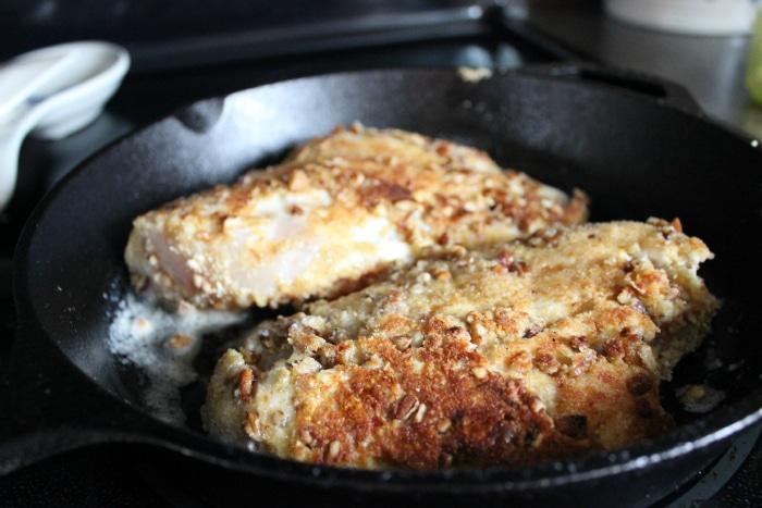 Browning pecan and progresso bread crumb chiken