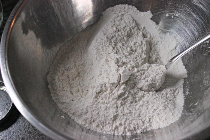 dry ingredients for eggnog bread