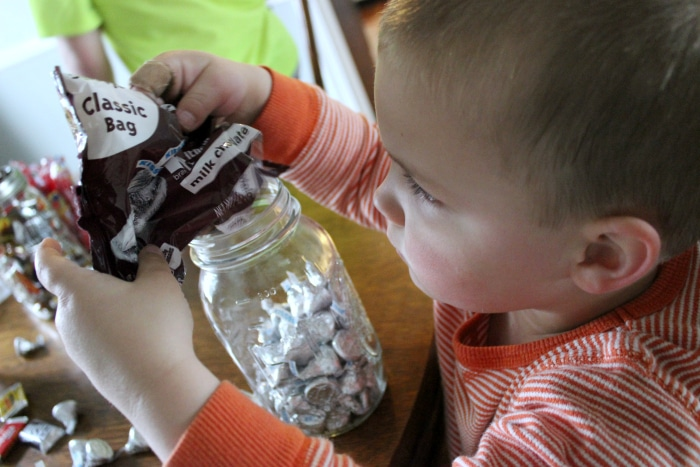 Filling the candy jars