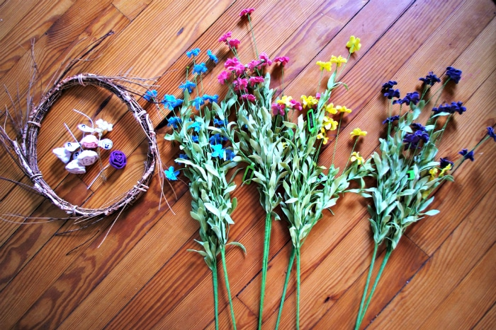 Supplies to make your own spring wreath