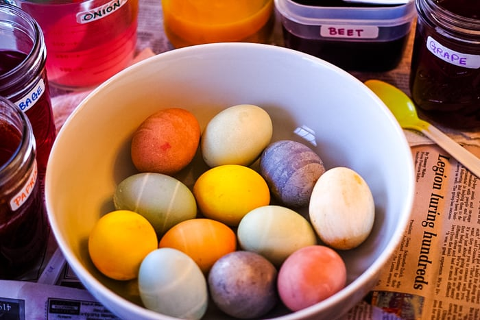 bowl of naturally dyed Easter eggs