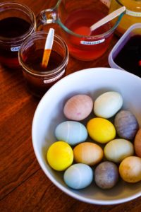 naturally dyed Easter eggs in bowl
