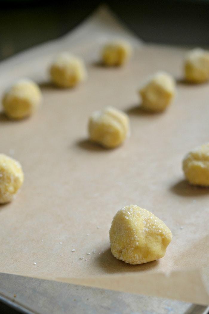 lemon tea cookies recipe on baking sheet