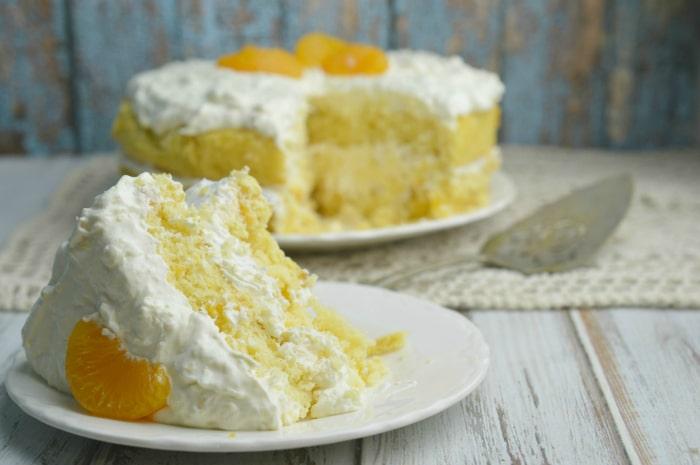Delicious orange delight cake finished on plates
