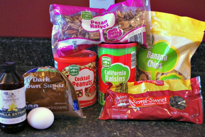 Ingredients to make homemade trail mix