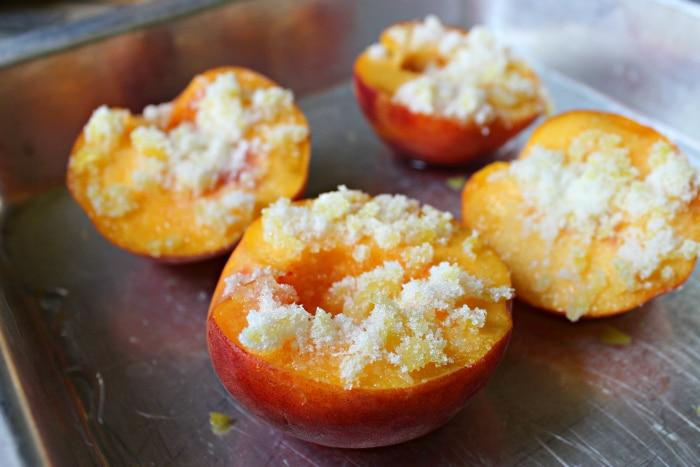 Roasted White Peaches with Honeycomb and Vanilla Ice Cream 2