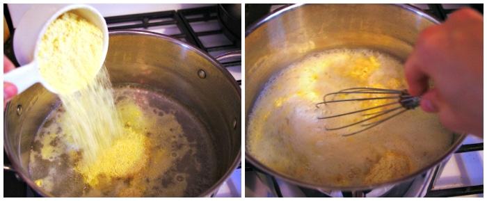 Making polenta in a stock pot