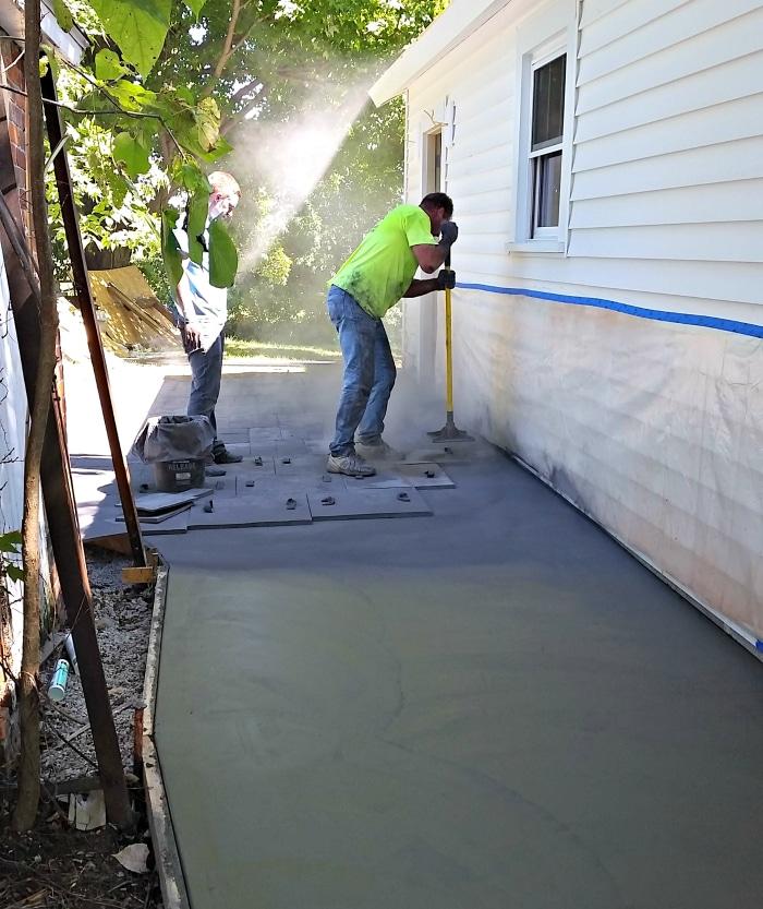 farmhouse-renovation-week-9-stamping-concrete-outside
