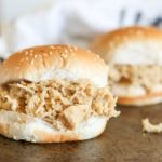 shredded chicken sandwiches on plate