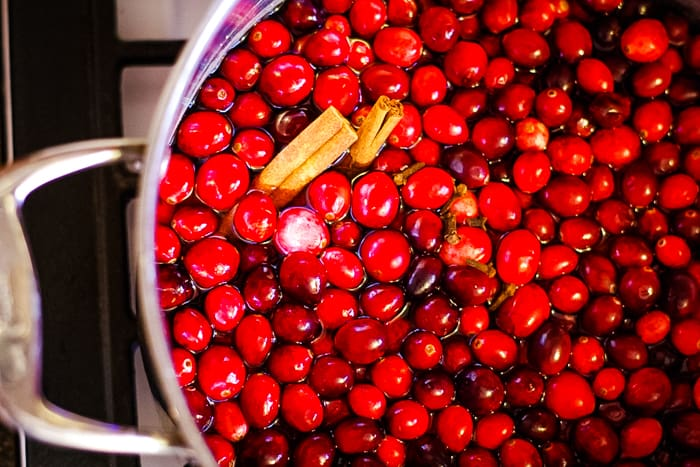 stockpot of cranberries and cinnamon