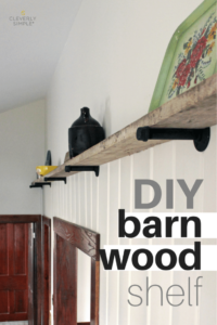 DIY barn wood shelf in the kitchen
