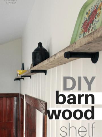 DIY barn wood shelf in the kitchen