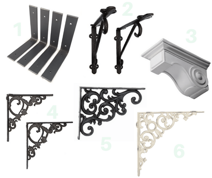 barn wood shelf bracket options