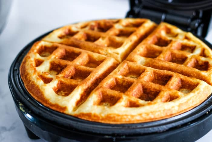waffle ready in waffle iron