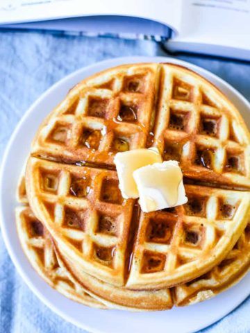 waffles on plate with butter