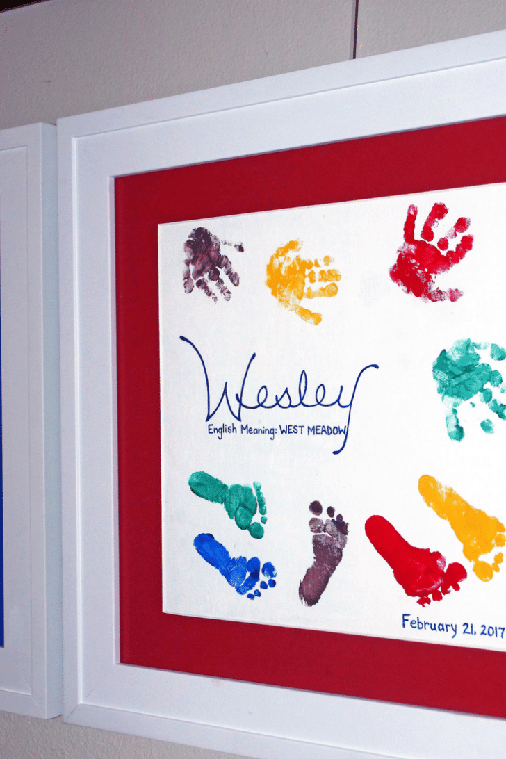 DIY hands and feet painted on canvas