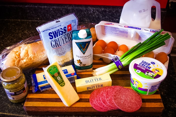 overnight breakfast casserole ingredients on cutting board