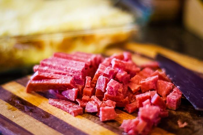 thick genoa salami sliced