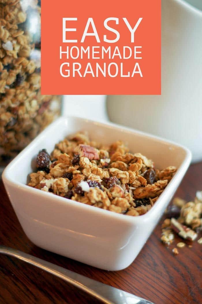 easy homemade granola recipe pin copy