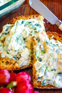 cold spinach dip on toast