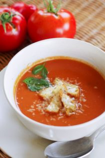 Creamy tomato soup topped with homemade croutons