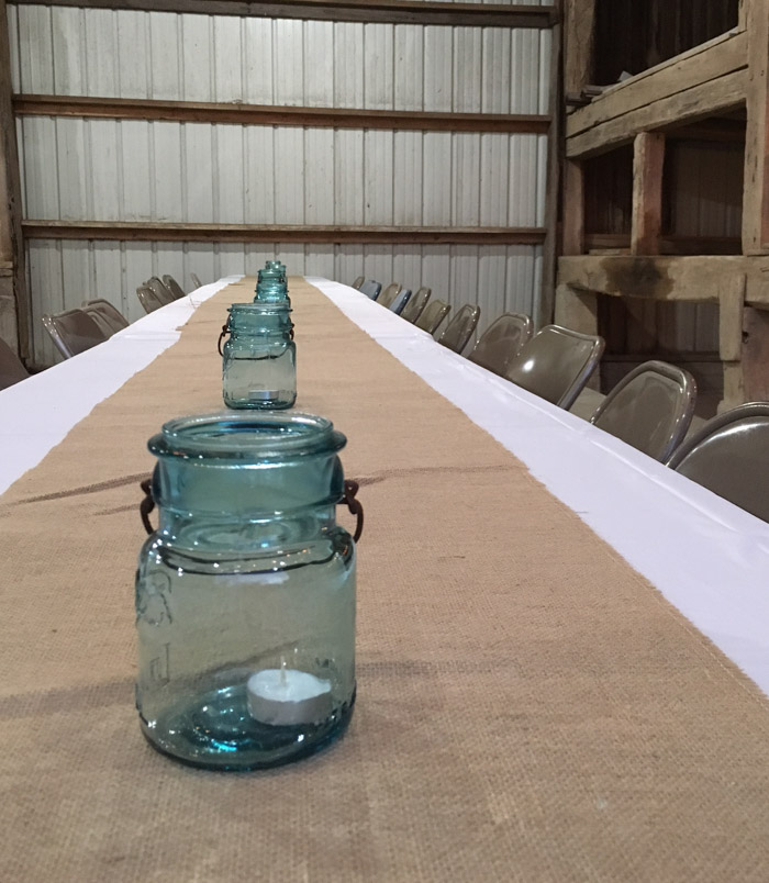 blue ball jars for decorating barn party