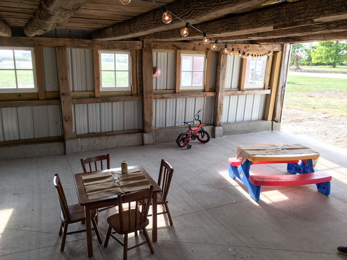 kids area in barn for party