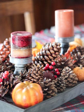 fall tabletop decor with pumpkins, gourds in a metal tray