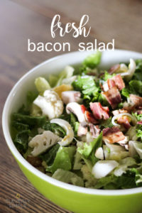 fresh salad with bacon, eggs cauliflower and an easy homemade dressing