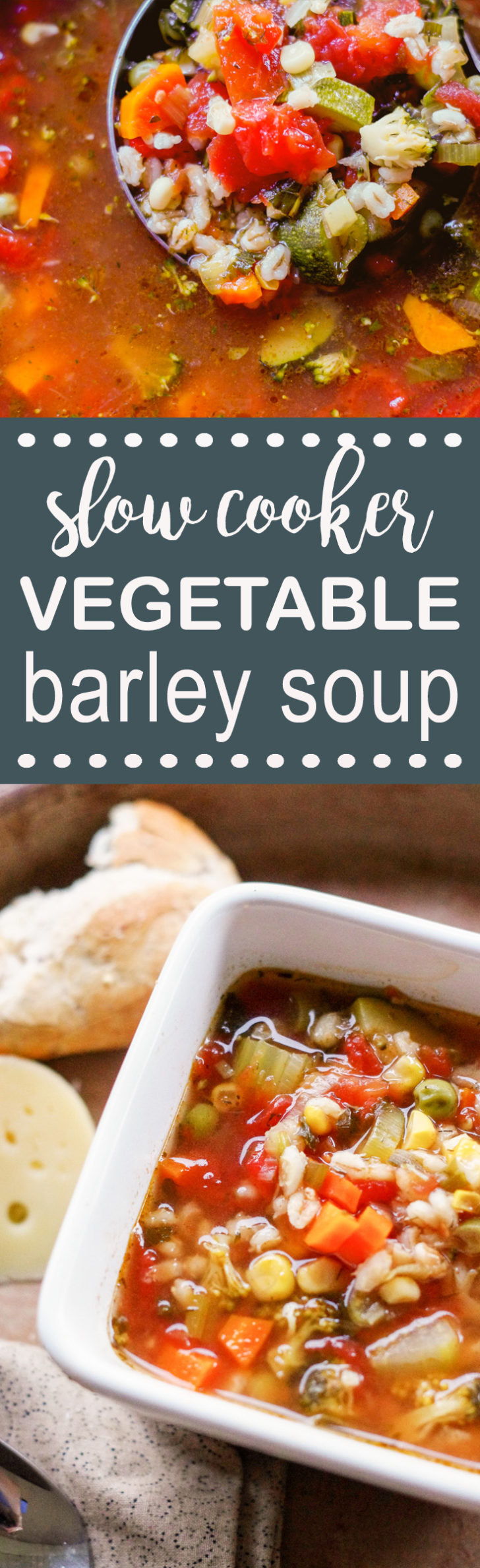 slow cooker vegetable soup in bowl and in ladle