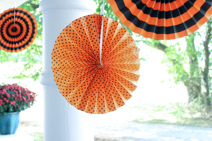 colorful fans on porch