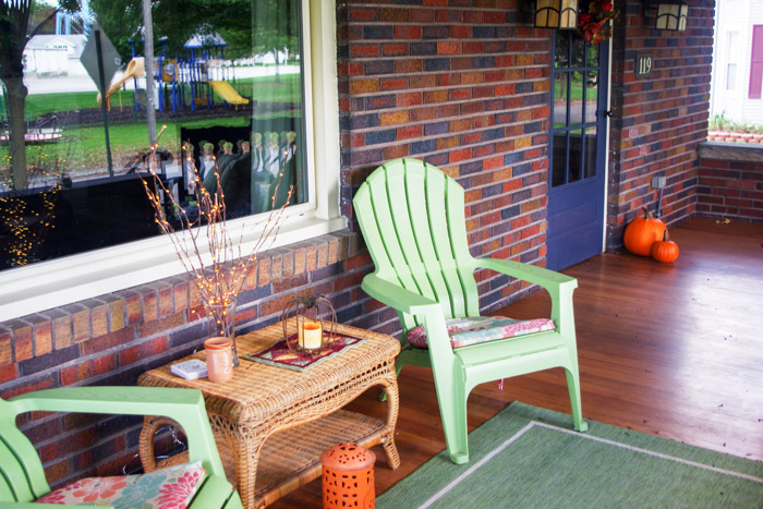 Adirondack plastic chairs on porch