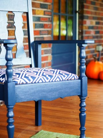 painted blue porch furniture on front porch