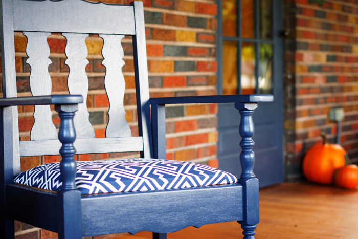 painted furniture on porch