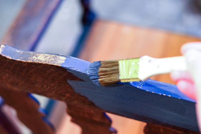 painting blue on wood chair
