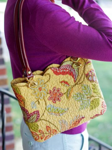 placemat purse on shoulder of girl