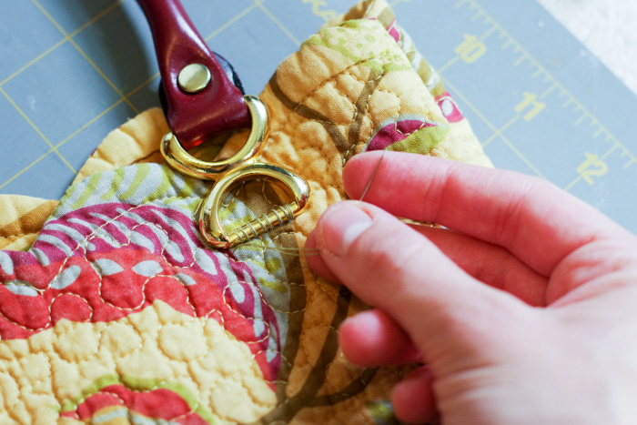 sewing on handles on placemat