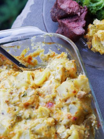 potato casserole with dinner plate