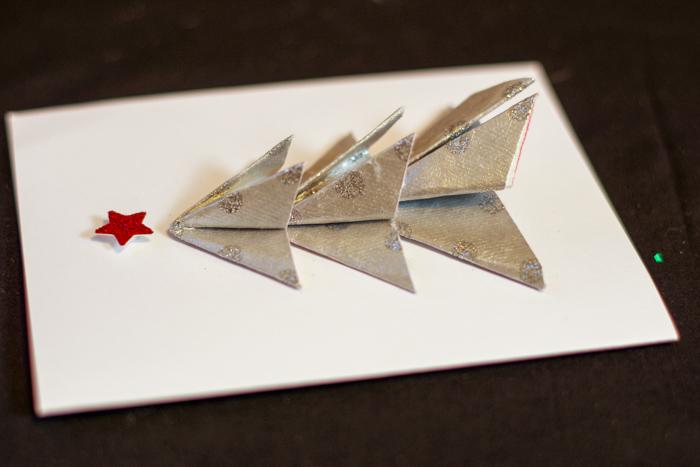 tree on card with glued edges
