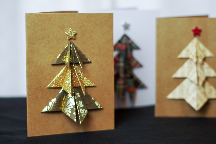 gold and silver tree on card