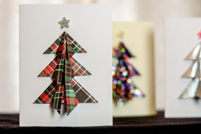 plaid tree on card