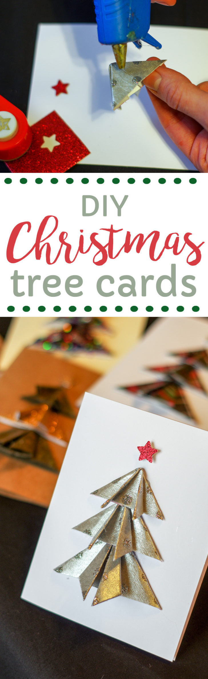DIY Christmas cards with trees. The perfect handmade craft for the holidays.