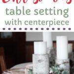 Christmas centerpiece idea using barn wood, holly, an owl and Cracker Barrel dinnerware.