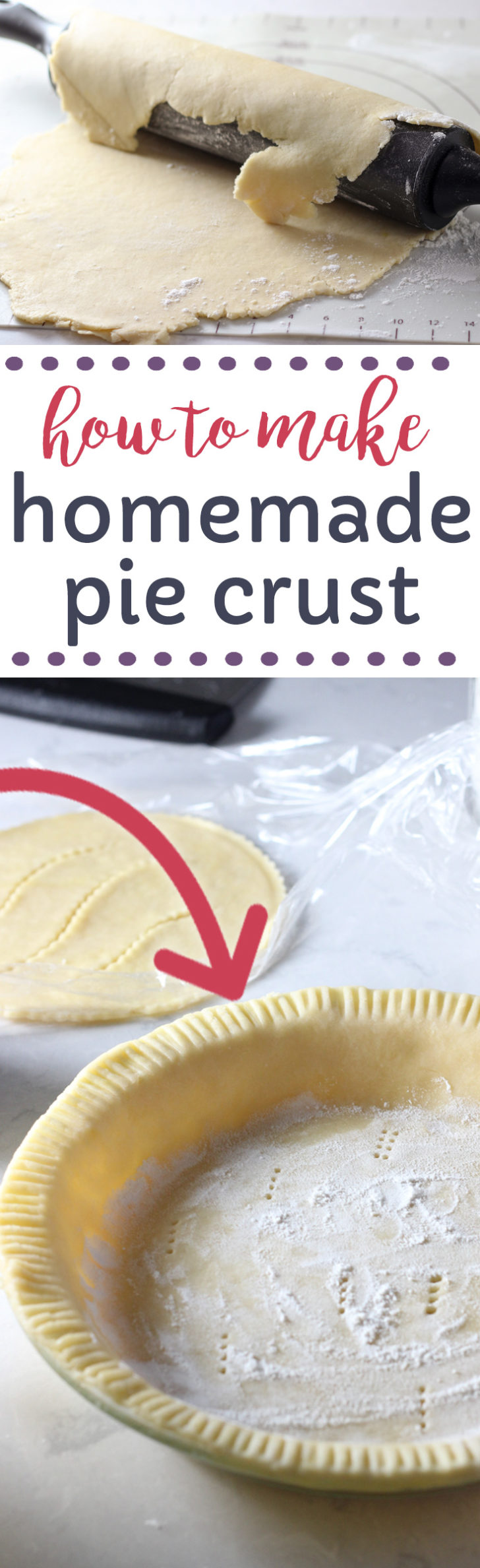 Homemade pie crust recipe made with shortening.