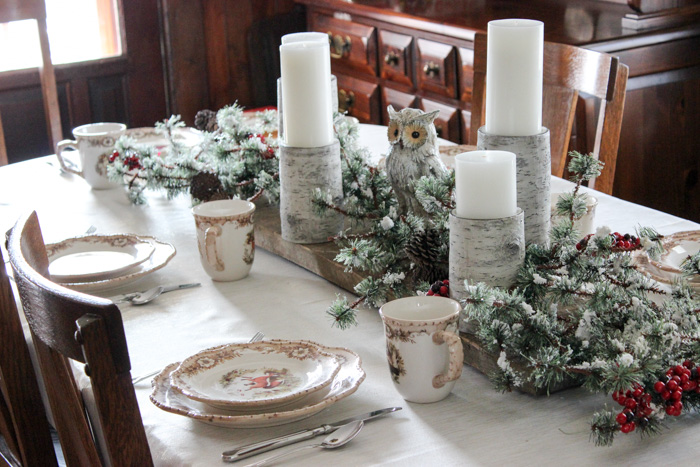 Christmas centerpiece with owl and barn wood