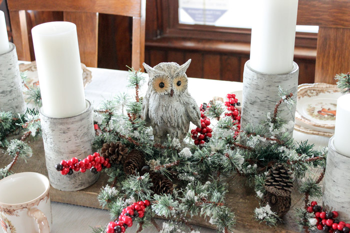 Cracker Barrel owl on barnwood Christmas centerpiece