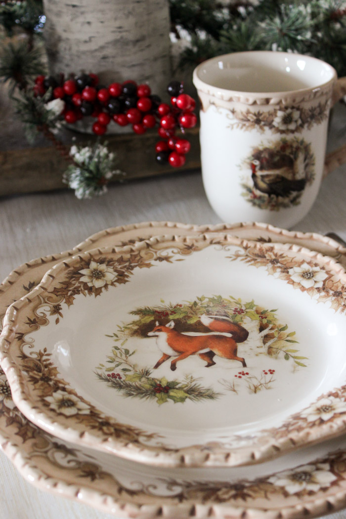 Fox Christmas plate with holly centerpiece