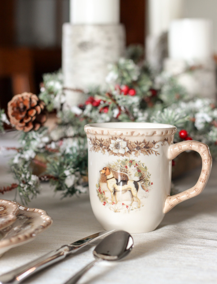 Cracker Barrel Mug with Christmas Centerpiece