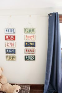 two license plate art wall hangings