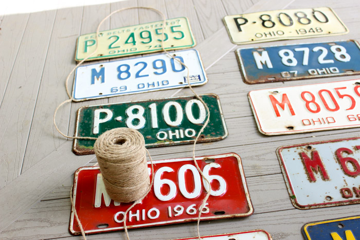 license plates with string